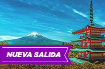 Foto de pagoda japonesa y Monte Fuji a lo lejos