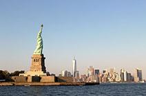 Foto de bahía de Nueva York con Estatua de la Libertad