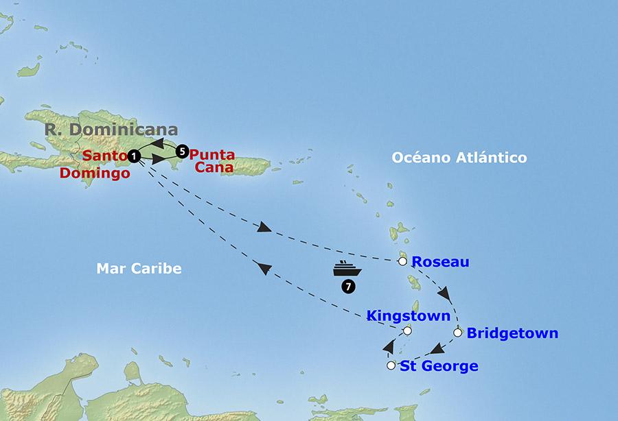 Mapa itinerario Crucero Islas del Caribe con Pullmantur