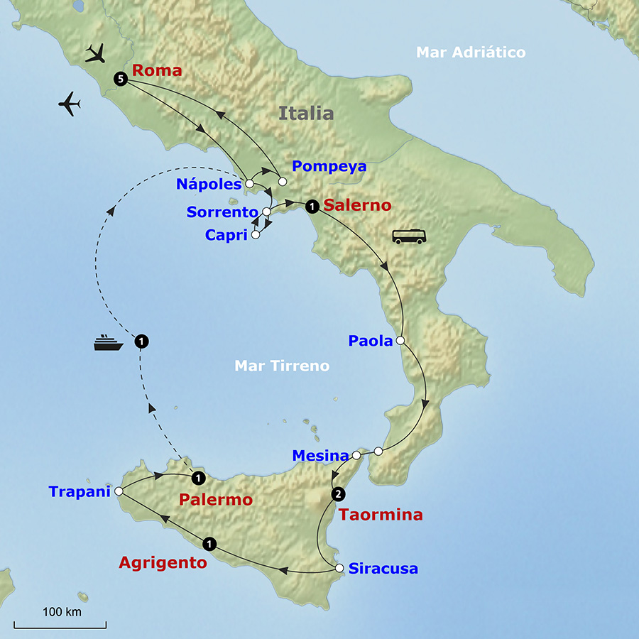 Mapa del recorrido por Sicilia y el sur de Italia